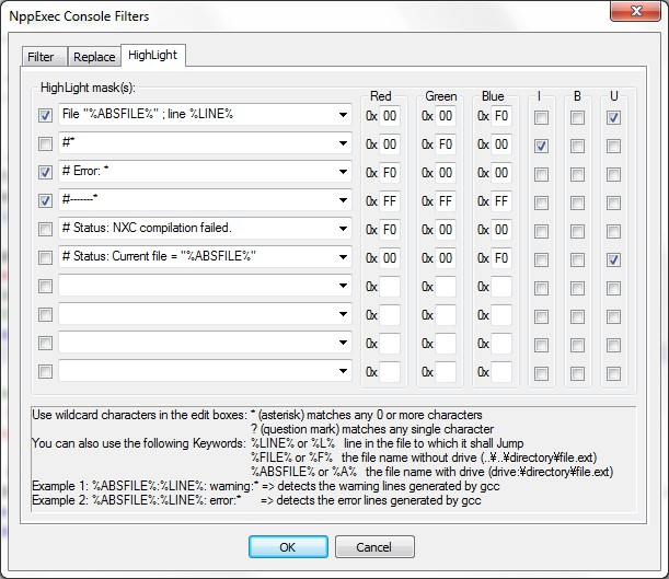 NppExec highlight dialog window