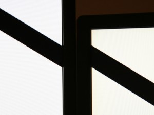A photo of a diagonal going from one monitor to another