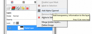 Screenshot of rightclick menu